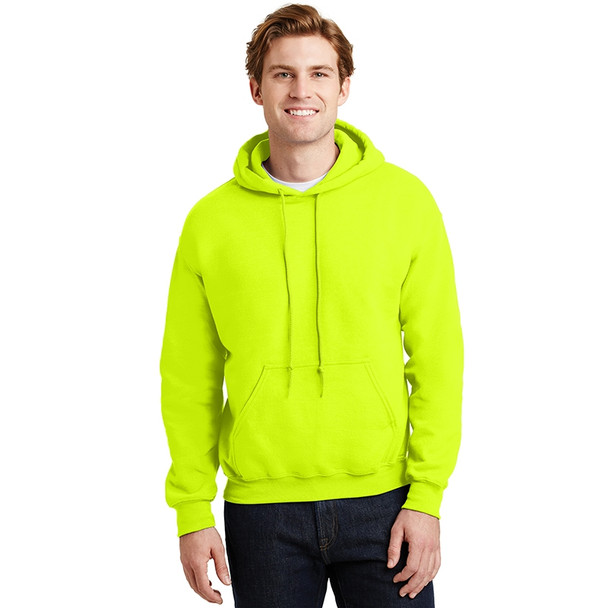 Gildan Enhanced Visibility Heavy Blend Pullover Hooded Sweatshirt 18500 Safety Green/Front
