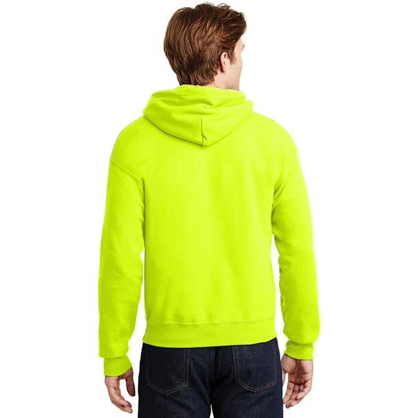 Gildan Enhanced Visibility Heavy Blend Pullover Hooded Sweatshirt 18500 Safety Green/Back