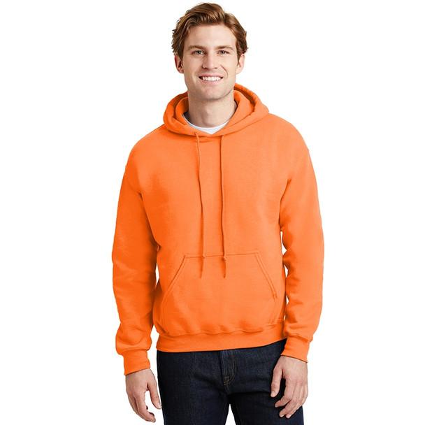 Gildan Enhanced Visibility Heavy Blend Pullover Hooded Sweatshirt 18500 Safety Orange/Front