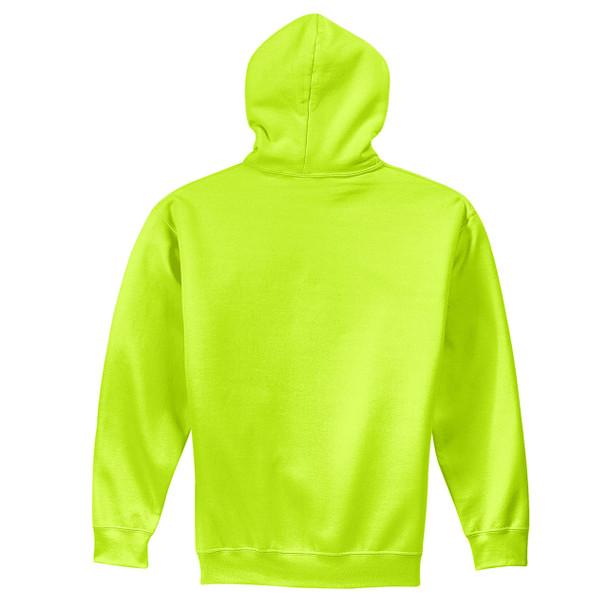 Gildan Enhanced Visibility Heavy Blend Pullover Hooded Sweatshirt 18500 Safety Green Back