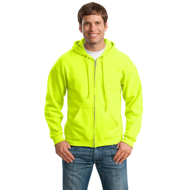 Gildan Enhanced Visibility Full-Zip Hooded Sweatshirt 18600 Safety Green/Front