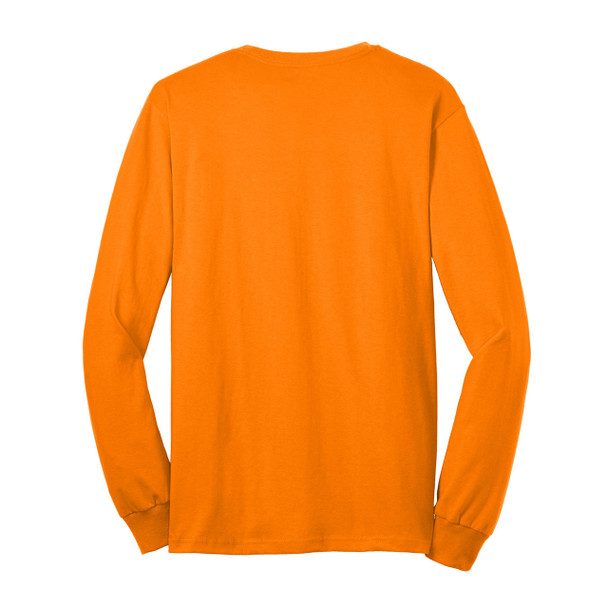 Gildan Enhanced Visibility Ultra Cotton Long Sleeve T-Shirt with Pocket 2410 Safety Orange/Back