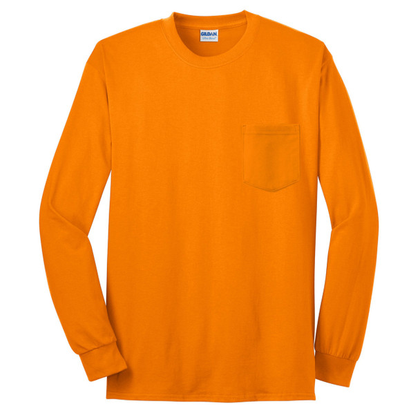 Gildan Enhanced Visibility Ultra Cotton Long Sleeve T-Shirt with Pocket 2410 Safety Orange/Front