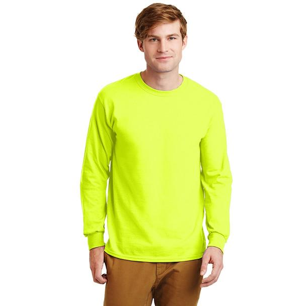 Gildan Hi Vis Ultra Cotton Long Sleeve T-Shirt G2400 Safety Green Front