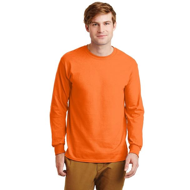 Gildan Hi Vis Ultra Cotton Long Sleeve T-Shirt G2400 Safety Orange Front