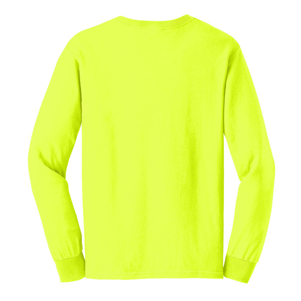 Gildan Hi Vis Ultra Cotton Long Sleeve T-Shirt G2400 Safety Green/Back