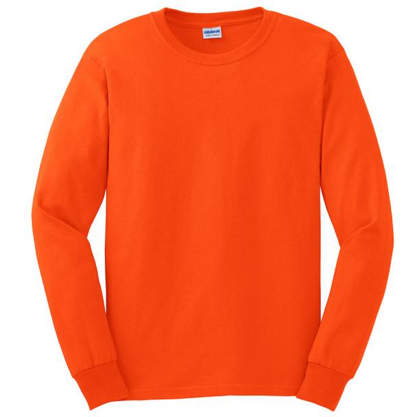 Gildan Hi Vis Ultra Cotton Long Sleeve T-Shirt G2400 Safety Orange/Front