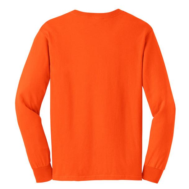 Gildan Hi Vis Ultra Cotton Long Sleeve T-Shirt G2400 Safety Orange/Back