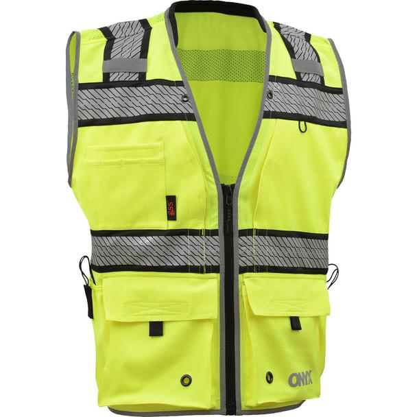 GSS Class 2 Hi Vis Lime Surveyors Vest with Segment Tape 1511