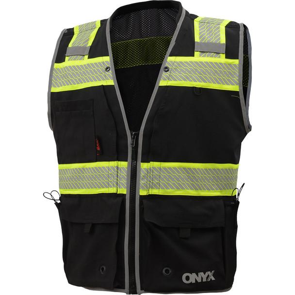 GSS Enhanced Visibility Black Premium ONYX Surveyors Vest with Segmented Tape 1513 Front
