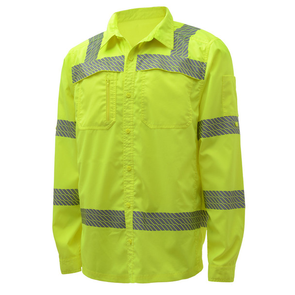 GSS Class 3 Hi Vis Lime Lightweight Rip Stop Work Shirt 7505