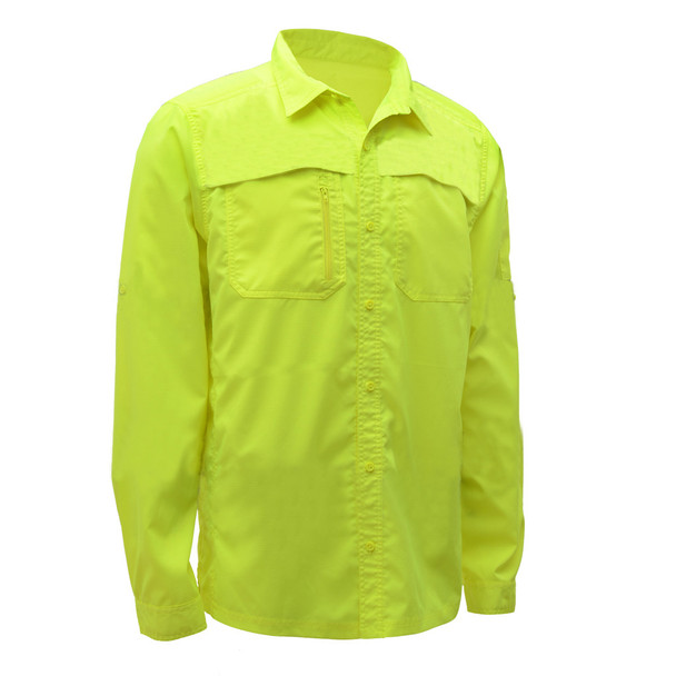 GSS Non-ANSI Hi Vis Lightweight Lime Rip Stop Work Shirt 7507 Right Side