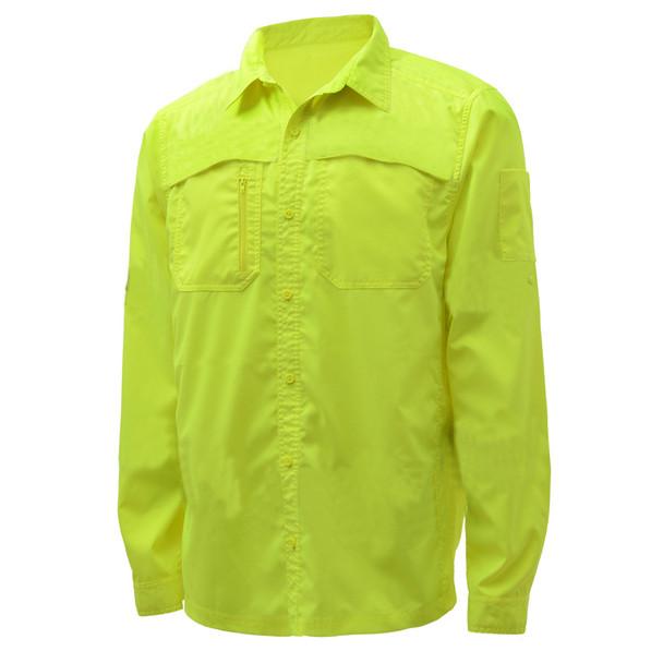 GSS Non-ANSI Hi Vis Lightweight Lime Rip Stop Work Shirt 7507 Left Side