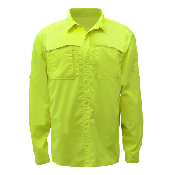 GSS Non-ANSI Hi Vis Lightweight Lime Rip Stop Work Shirt 7507 Front