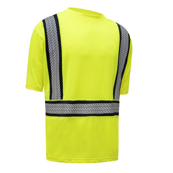 GSS Class 2 Hi Vis Lime Moisture Wicking T Shirt with Segment Tape 5701 Left Side