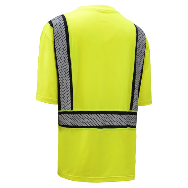 GSS Class 2 Hi Vis Lime Moisture Wicking T Shirt with Segment Tape 5701 Back