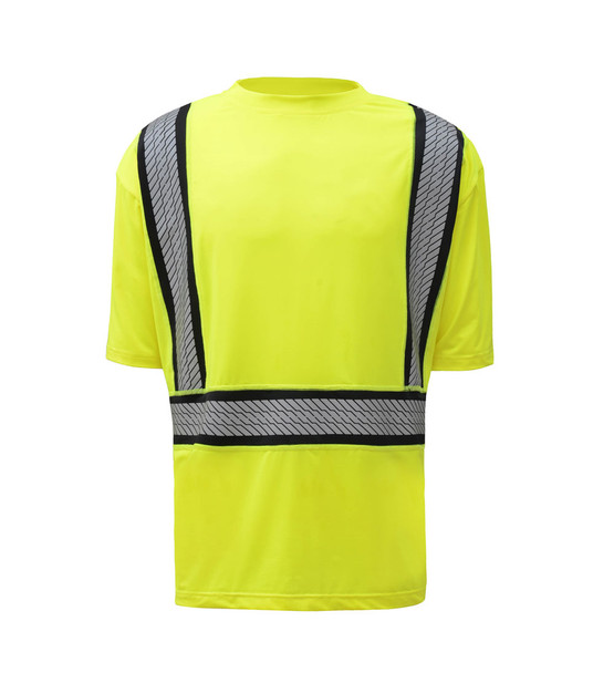 GSS Class 2 Hi Vis Lime Moisture Wicking T Shirt with Segment Tape 5701 Front