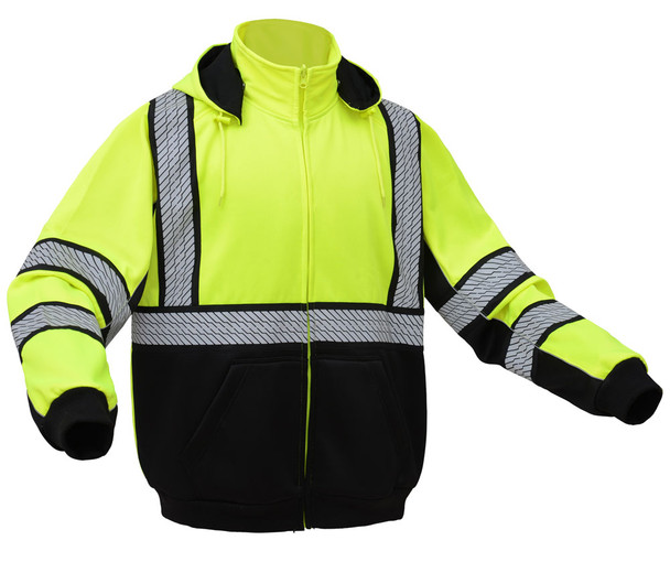 GSS Class 3 Hi Vis Lime Zip Up Hooded Sweatshirt 7511 Right