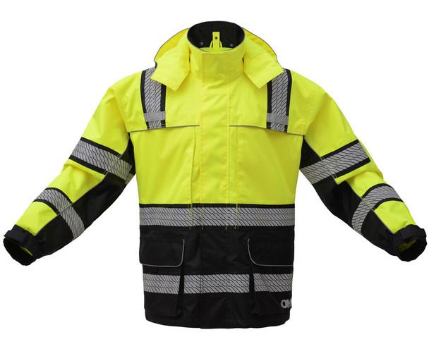 GSS Class 3 Hi Vis Premium ONYX Lime Black Bottom Rain Jacket with Segment Tape and Teflon Protector 6501 Front