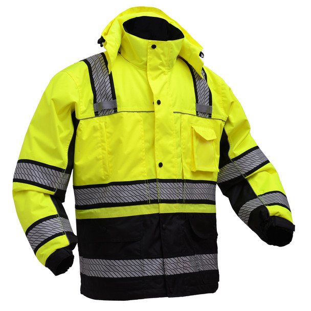 GSS Class 3 Hi Vis Premium ONYX Lime 3-in-1 Winter Parka Jacket with Teflon Protector 8505 Front Right