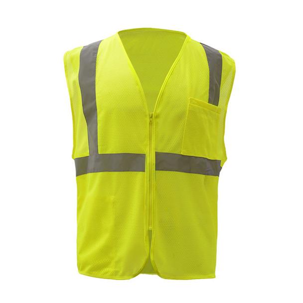 GSS Class 2 Hi Vis Lime Economy Mesh Vest with Zipper 1001 Front