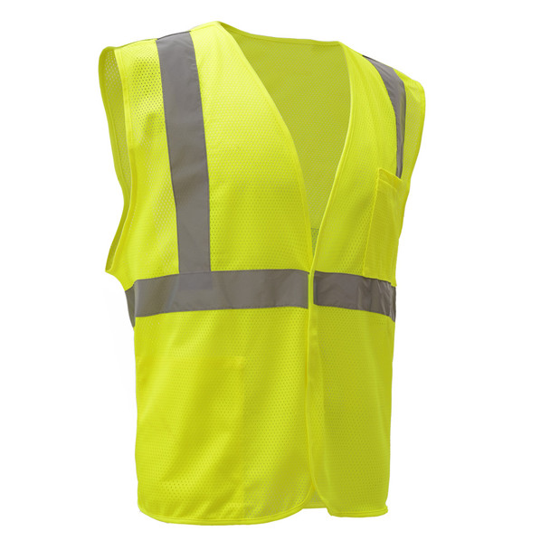 GSS Class 2 Hi Vis Lime Economy Mesh Hook and Loop Vest 1003 Left Side
