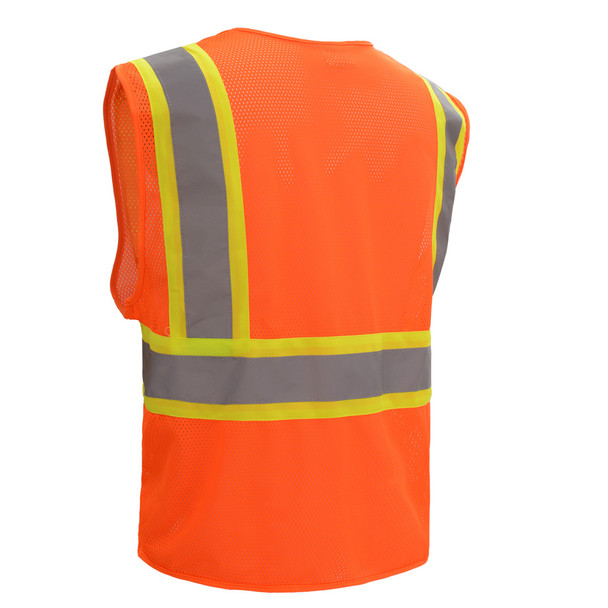 GSS Class 2 Hi Vis Orange Mesh 2 Tone Hook and Loop Vest 1008