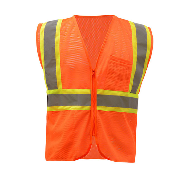 GSS Class 2 Hi Vis Orange Mesh 2 Tone Vest with Zipper 1006