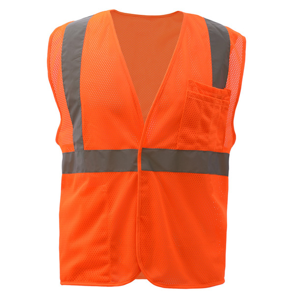 GSS Class 2 Hi Vis Orange Mesh Hook and Loop Vest 1004