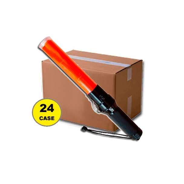 Case of 24 Red Traffic Baton with LED Flashlight 411TW-CASE