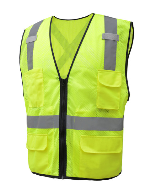 GSS Class 2 X-Back Hi Vis Lime Mesh Utility Vest with iPad Pockets 1605 Left Side