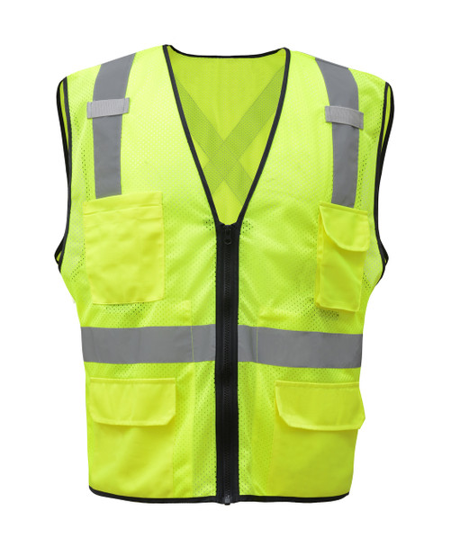 GSS Class 2 X-Back Hi Vis Lime Mesh Utility Vest with iPad Pockets 1605 Front