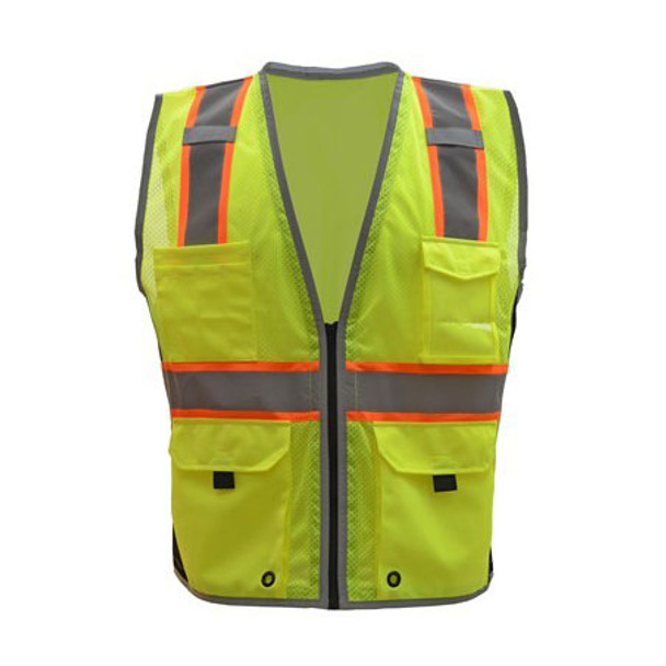 GSS Class 2 Hi Vis Lime Vest with Black Sides and Zipper 1703