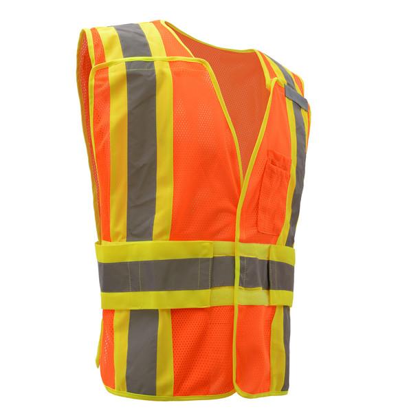 GSS Class 2 Hi Vis Orange Adjustable Vest with 2 Tone Trim 1804 Right Side