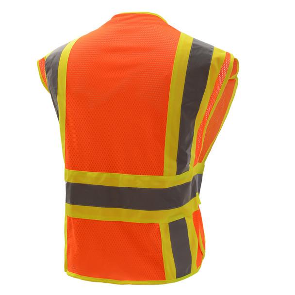GSS Class 2 Hi Vis Orange Adjustable Vest with 2 Tone Trim 1804 Back
