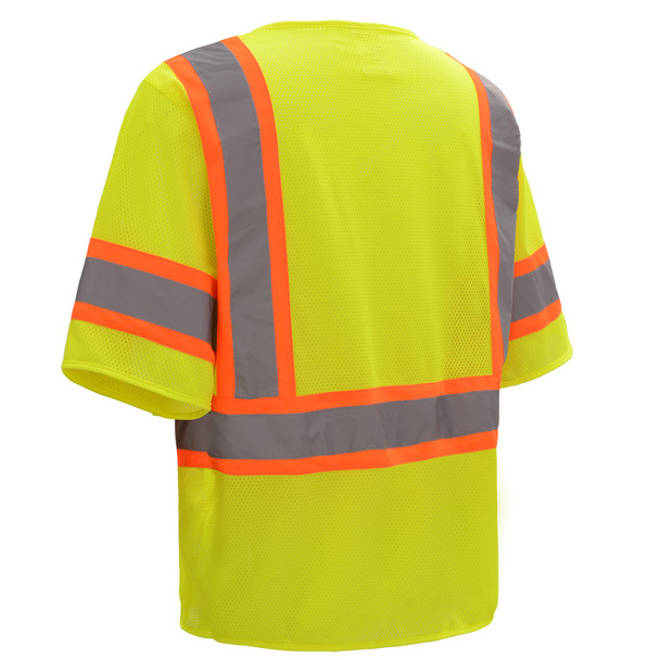 GSS Class 3 Hi Vis Lime Two Tone Economy Vest with Hook and Loop 2007 Back