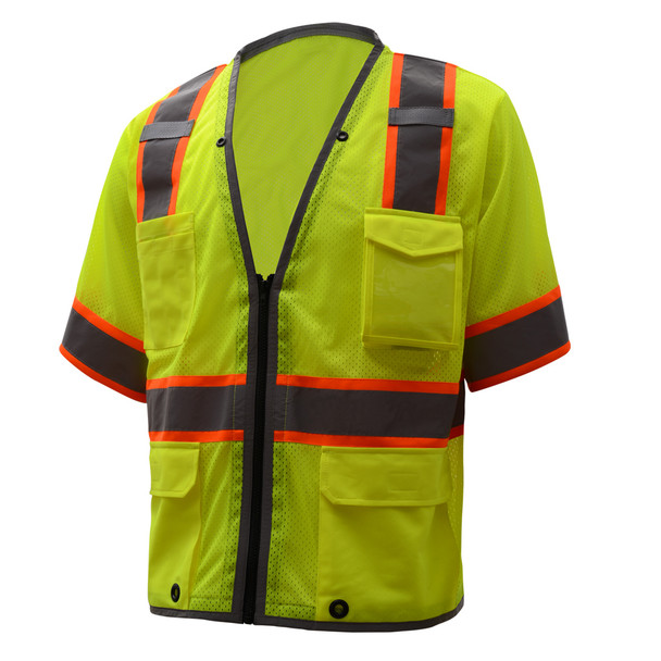 GSS Class 3 Hi Vis Lime Two Tone Mesh Vest with 6 Pockets 2701 Right Side