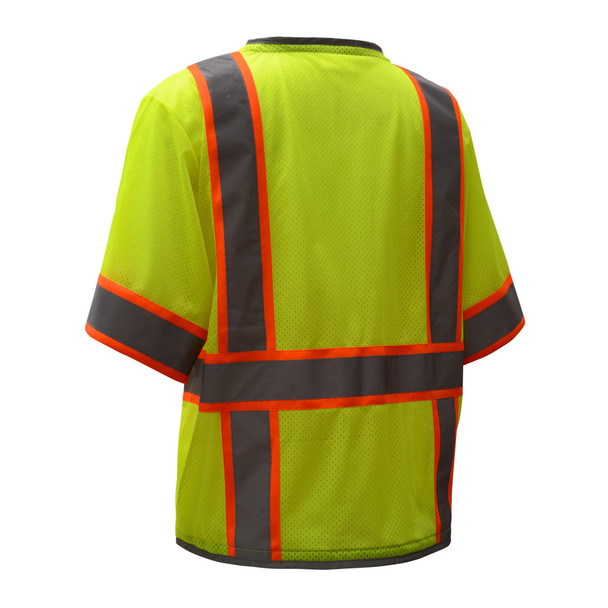 GSS Class 3 Hi Vis Lime Two Tone Mesh Vest with 6 Pockets 2701 Back