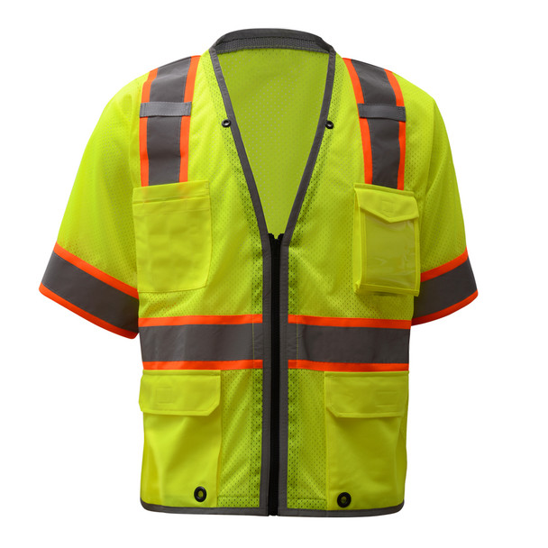 GSS Class 3 Hi Vis Lime Two Tone Mesh Vest with 6 Pockets 2701 Front