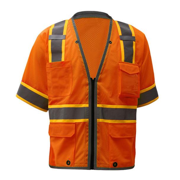 GSS Class 3 Hi Vis Orange Two Tone Mesh Vest with 6 Pockets 2702