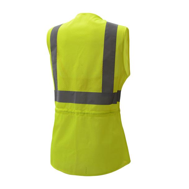 GSS Class 2 Hi Vis Lime Mesh Adjustable Ladies Vest 7803 Back