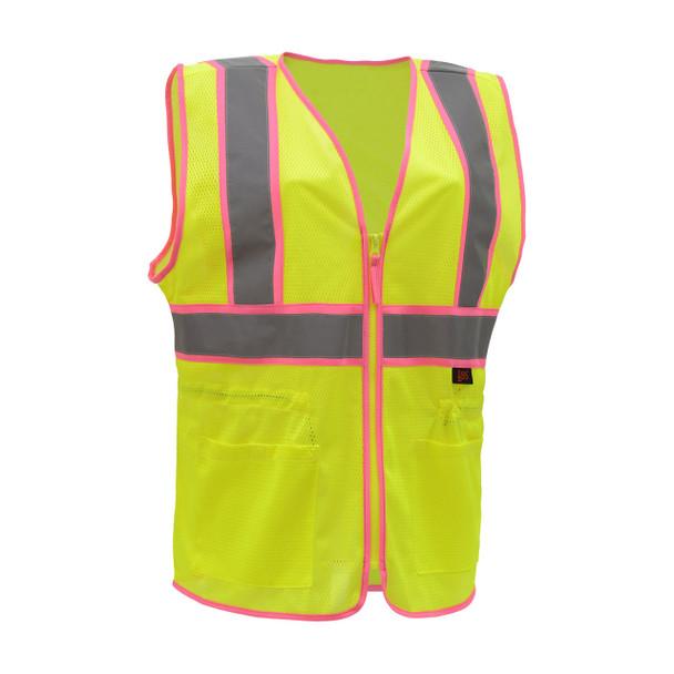 GSS Class 2 Hi Vis Lime Two Tone Ladies Vest 7805 Front