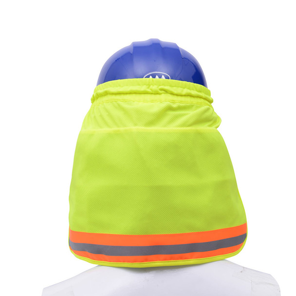 GSS Hi Vis Lime Sun Shield with PVA Cooling for Hard Hat 9303 Back