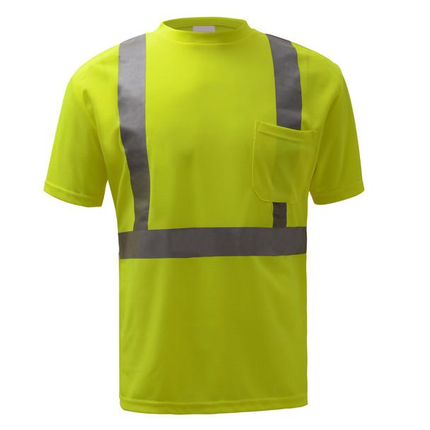 GSS Class 2 Hi Vis Yellow Moisture Wicking T-Shirt 5001 Front
