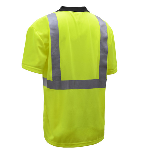 GSS Class 2 Hi Vis Lime Polo with Black Bottom and Collar 5003 Back