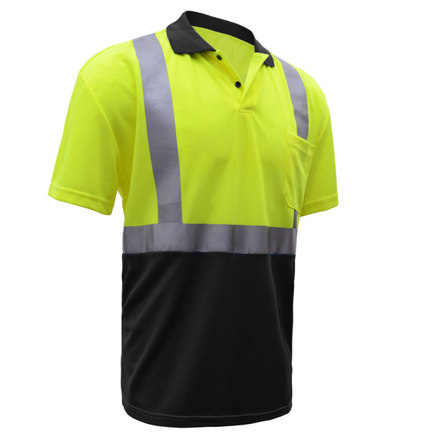 GSS Class 2 Hi Vis Lime Polo with Black Bottom and Collar 5003 Right Side