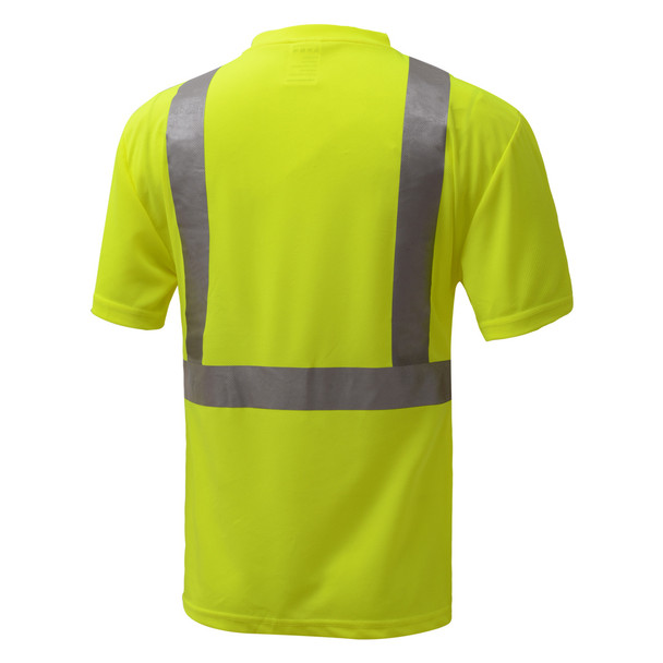 GSS Class 2 Hi Vis Lime Black Bottom Moisture Wicking T-Shirt with SPF 50 Protection 5111 Back