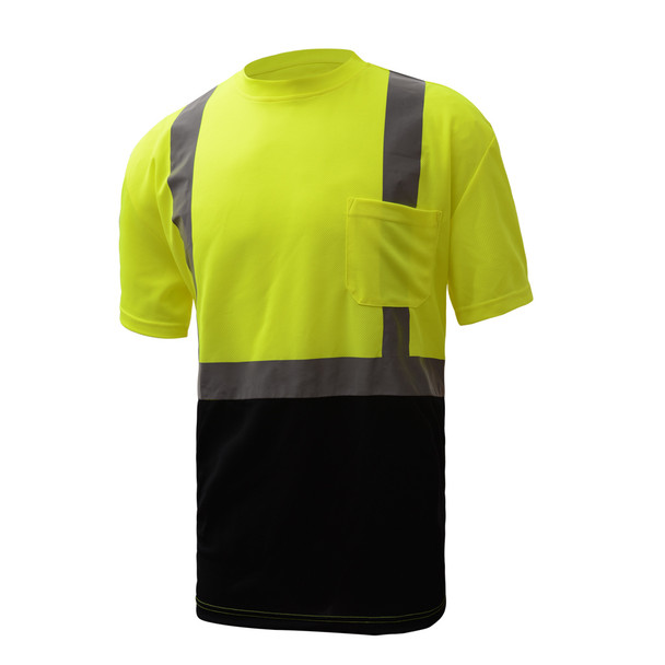 GSS Class 2 Hi Vis Lime Black Bottom Moisture Wicking T-Shirt with SPF 50 Protection 5111 Right Side