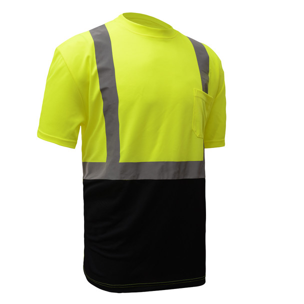 GSS Class 2 Hi Vis Lime Black Bottom Moisture Wicking T-Shirt with SPF 50 Protection 5111 Left Side