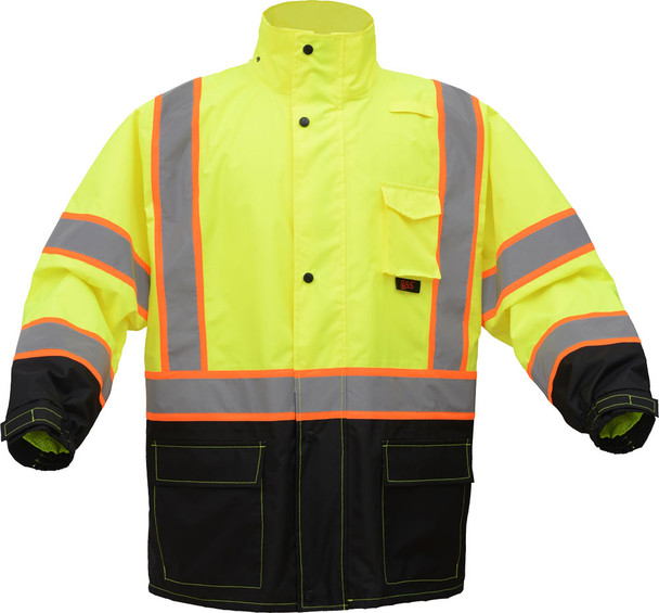 GSS Class 3 Hi Vis Lime Rain Jacket with 2 Tone Trim and Black Bottom 6005 Front